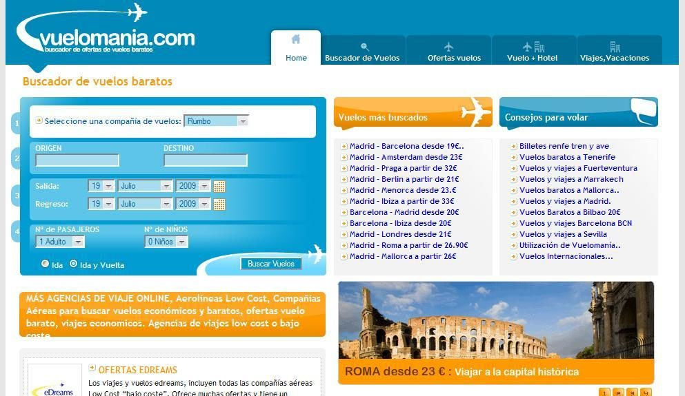 Buscador de Vuelos vuelomania.com