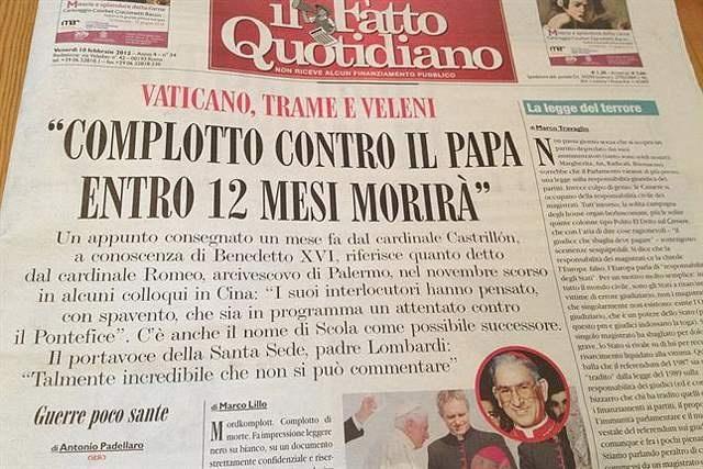 ddd4f5387b832a49ed7bb72724700158 - Una carta anónima advierte que el Papa morirá en 12 meses por un complot