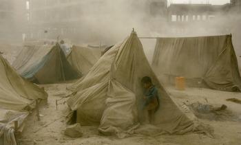 Tormenta de arena en campamento de refugiados