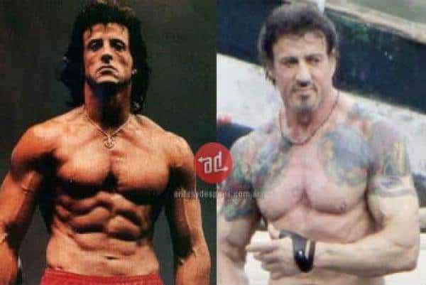 Famosos musculosos antes y después Sylvester Stallone