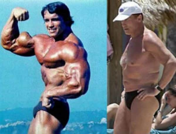 Famosos musculosos antes y después Arnold Schwarzenegger