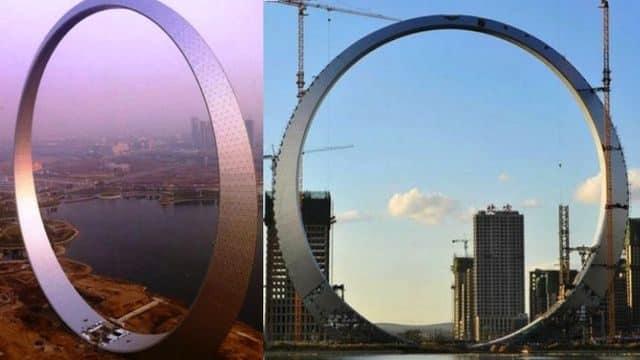"""El """"Aro de la Vida"""", en Fushun. Mide 157 metros de alto y está hecho de 3.000 toneladas de acero, decorado con 12.000 luces LED."""