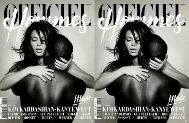 b389d00dbde0f89ea5c947817618bdcf - Kim Kardashian y Kanye West posan desnudos en L'Officiel Hommes Paris Spring 2013