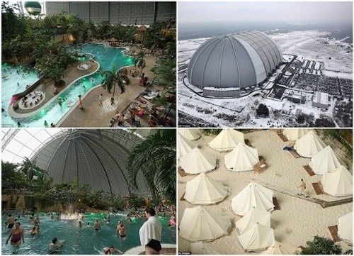 df38d6589b0bff471ff0a1d8386a947a - Isla tropical dentro de una cúpula y rodeada de nieve
