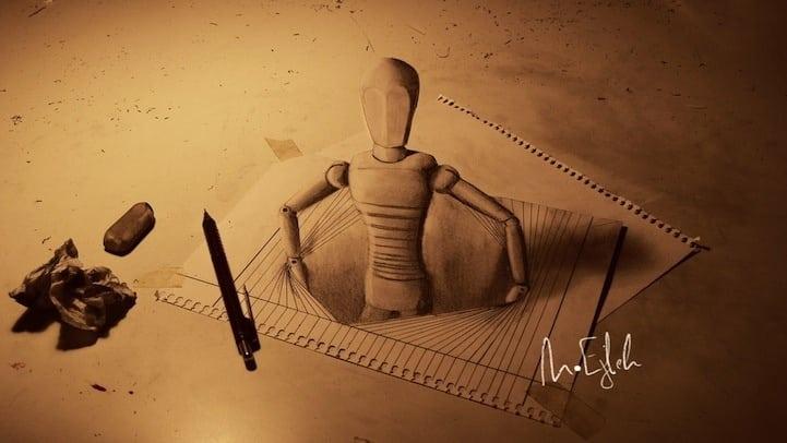 Impresionantes dibujos 3D a lápiz que se salen del papel 9