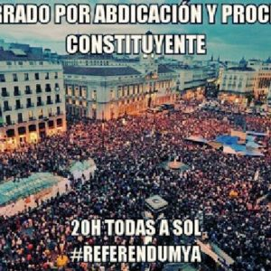 Concentraciones por un #ReferéndumYA. A las 20:00 en las calles y plazas de España 21