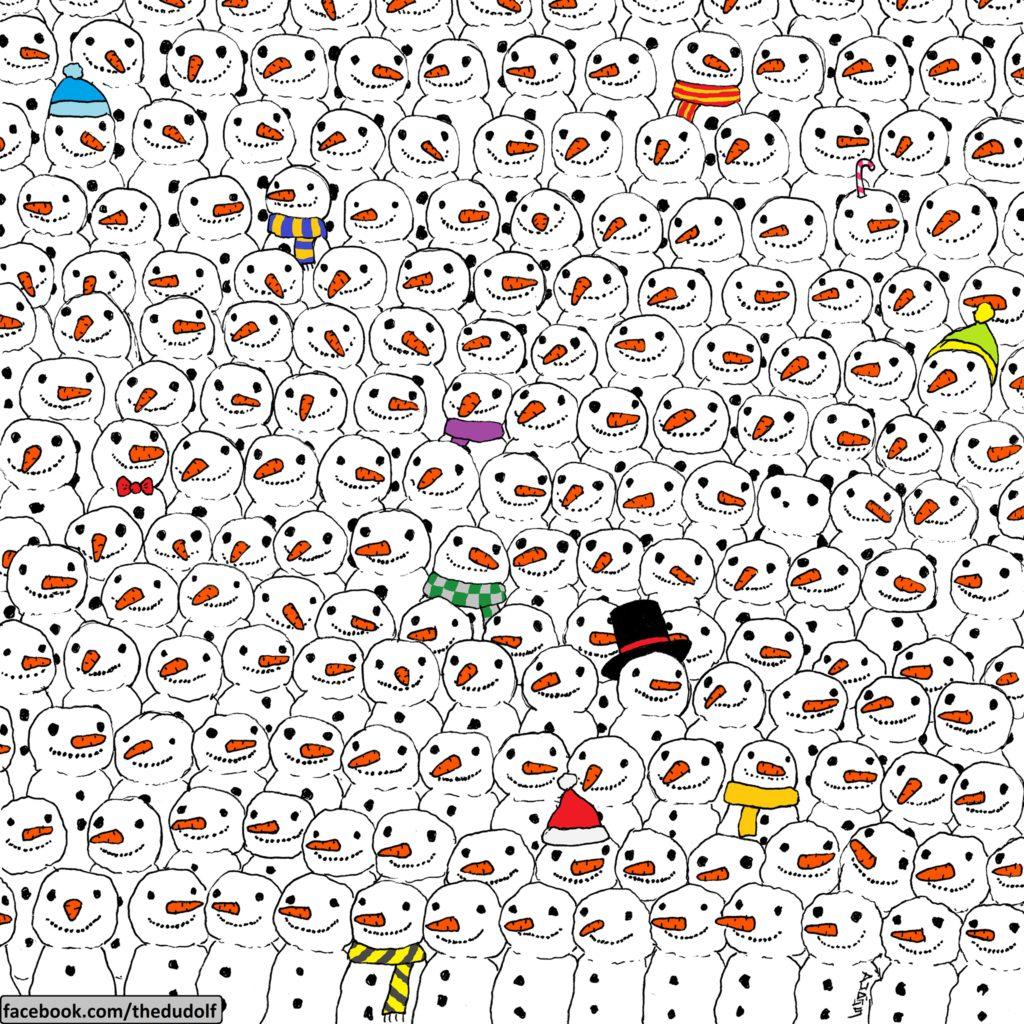 ¿Puedes encontrar al panda entre los muñecos de nieve? 19