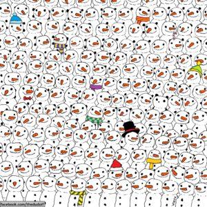 ¿Puedes encontrar al panda entre los muñecos de nieve? 28