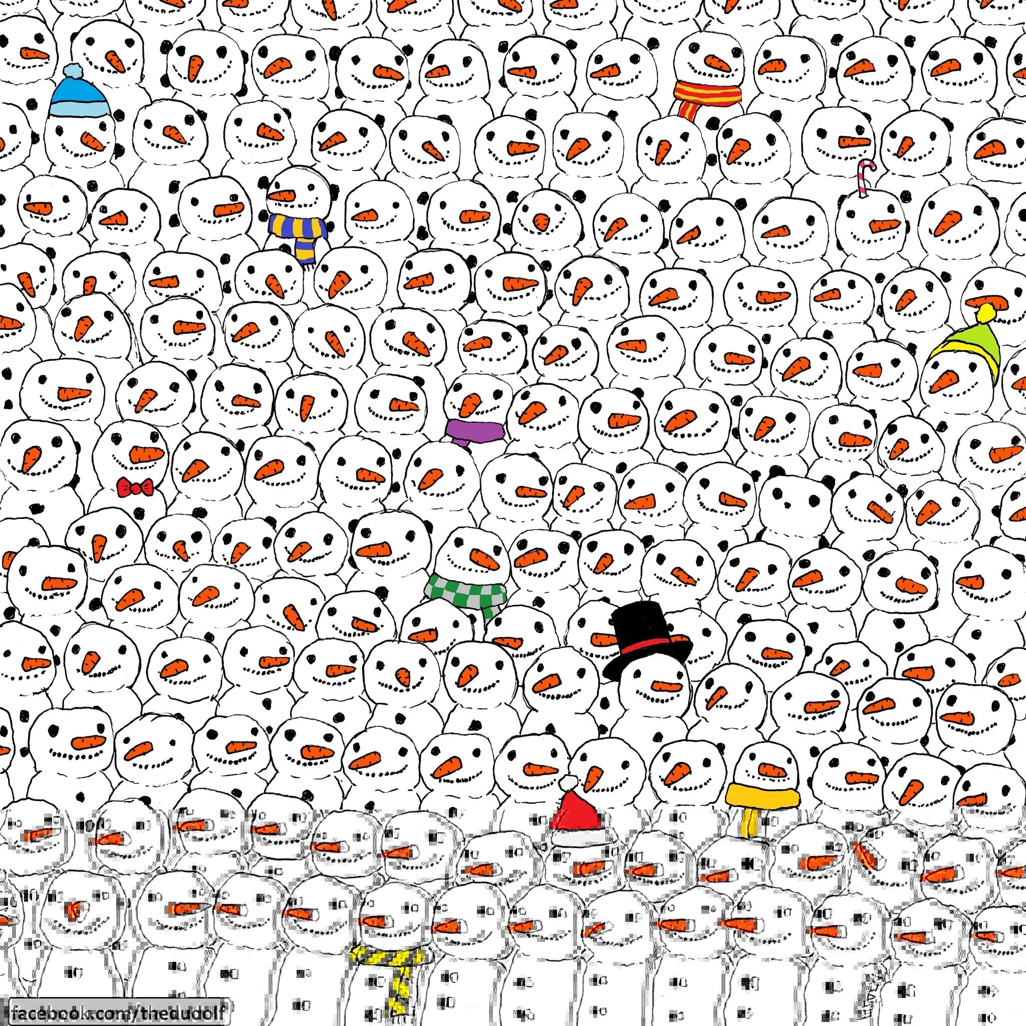 ¿Puedes encontrar al panda entre los muñecos de nieve? 20