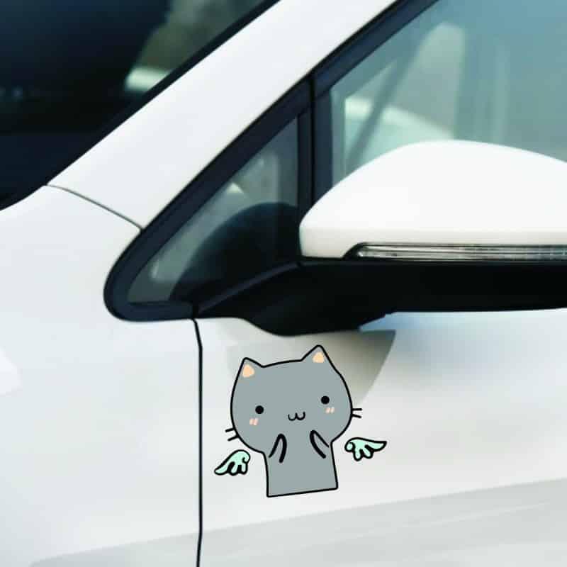 """Pegatinas para carro y coche""""Lindo Gato VS Devil Angel"""""""