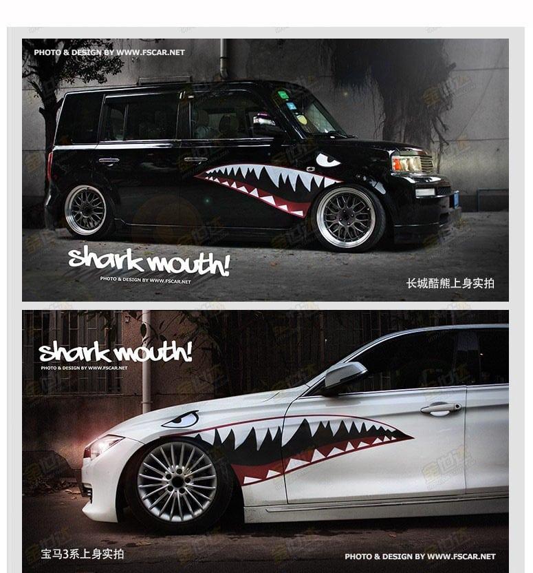"""Pegatinas para carro y coche""""Boca de tiburón"""""""