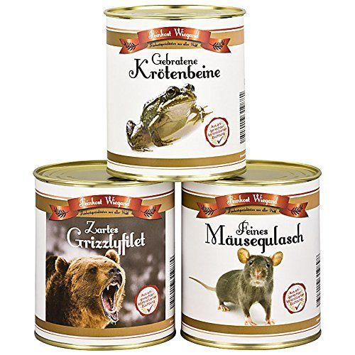 carne en lata de rata, rana y oso